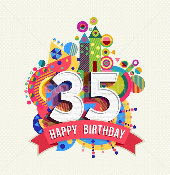 Сток-фото: С · Днем · Рождения · год · плакат · цвета · тридцать
