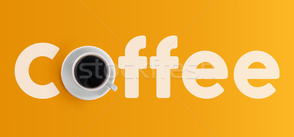 Cup of coffee from top view color background Stock photo © cienpies