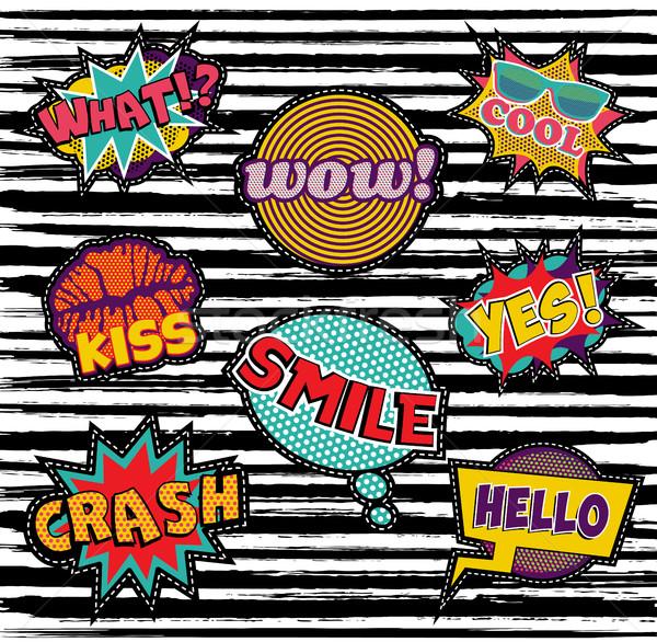 セット 刺繍 文字 パッチ ポップアート 要素 ストックフォト © cienpies