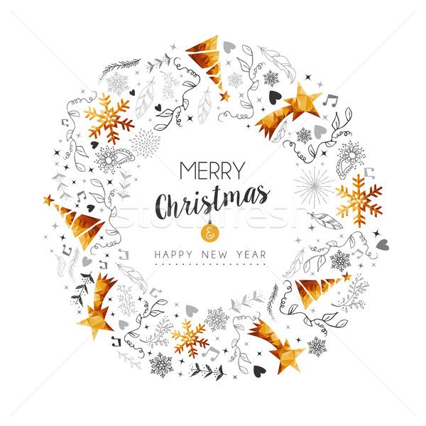 Navidad año nuevo oro decoración corona alegre Foto stock © cienpies