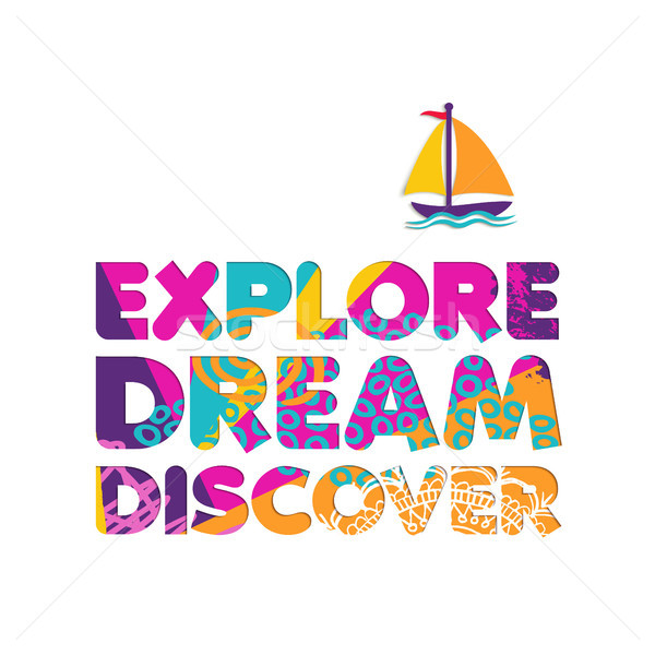 Summer vacation boat travel cutout color quote Stock photo © cienpies