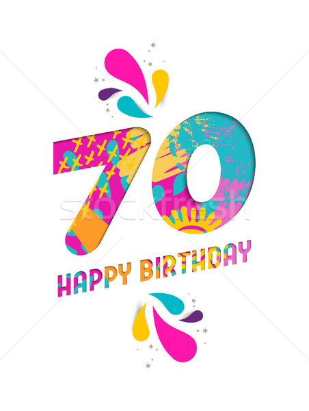 Happy birthday 70 year paper cut greeting card Stock photo © cienpies