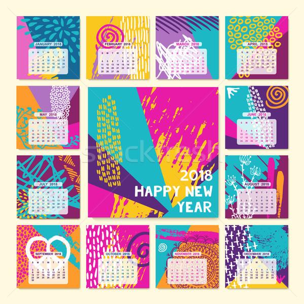 Eğlence renk yılbaşı takvim şablon Stok fotoğraf © cienpies