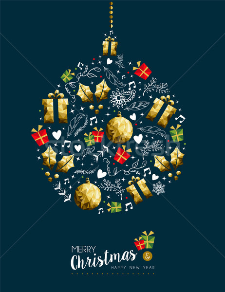 Christmas and new year gold bauble greeting card Stock photo © cienpies