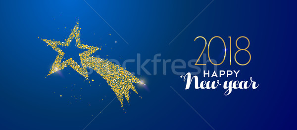 New Year 2018 gold glitter holiday shooting star Stock photo © cienpies