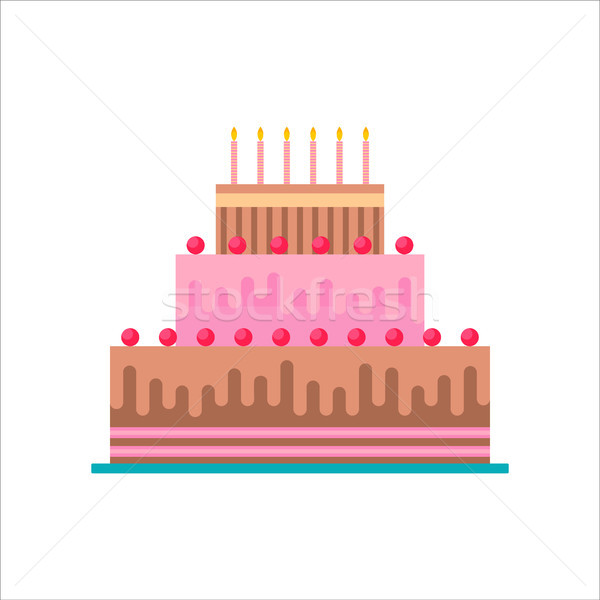 Birthday cake isolated with candles  Stock photo © cienpies