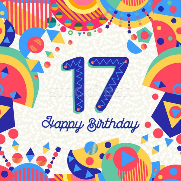 Dezessete 17 ano aniversário cartão número Foto stock © cienpies