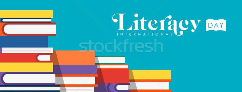 Literacy Day web banner of children school books Stock photo © cienpies