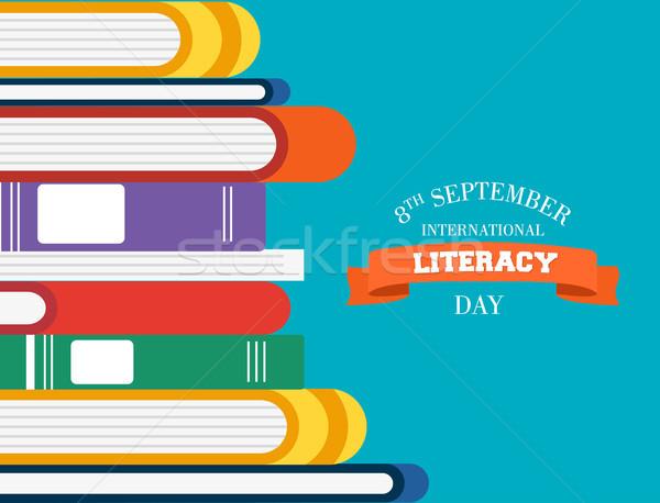Műveltség nap gyerekek könyvek olvas oktatás Stock fotó © cienpies