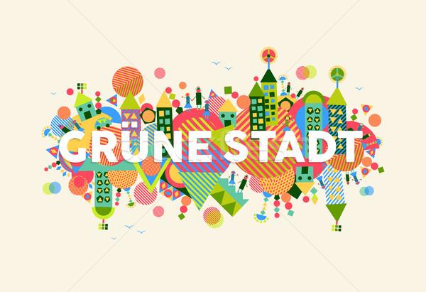 Groene stad taal illustratie kleurrijk tekst Stockfoto © cienpies
