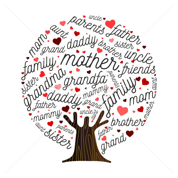 Family tree made of love heart shape concept Stock photo © cienpies