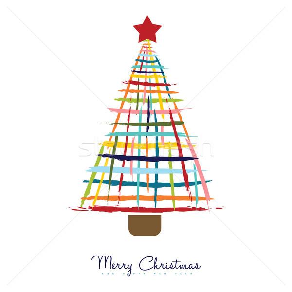 Рождества сосна рисованной щетка красочный Сток-фото © cienpies