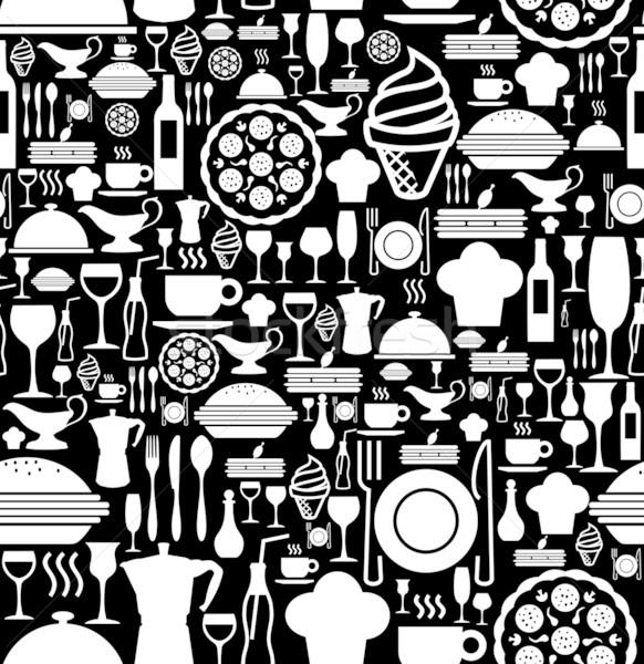 Gourmet icon set pattern Stock photo © cienpies