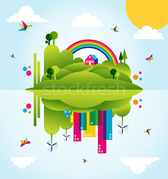 Happy green city spring time concept illustration Stock photo © cienpies