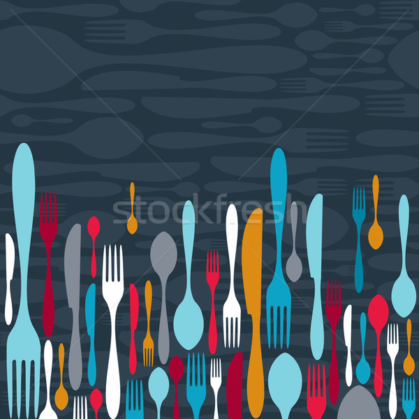 Cutlery silhouette icons background  Stock photo © cienpies