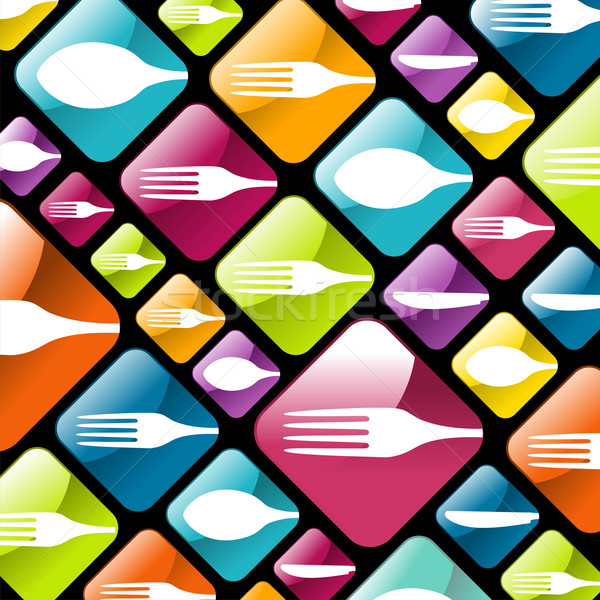 Dishware gourmet icons background Stock photo © cienpies