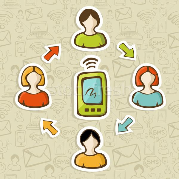 Hareketli web pazarlama model sosyal medya ağ Stok fotoğraf © cienpies