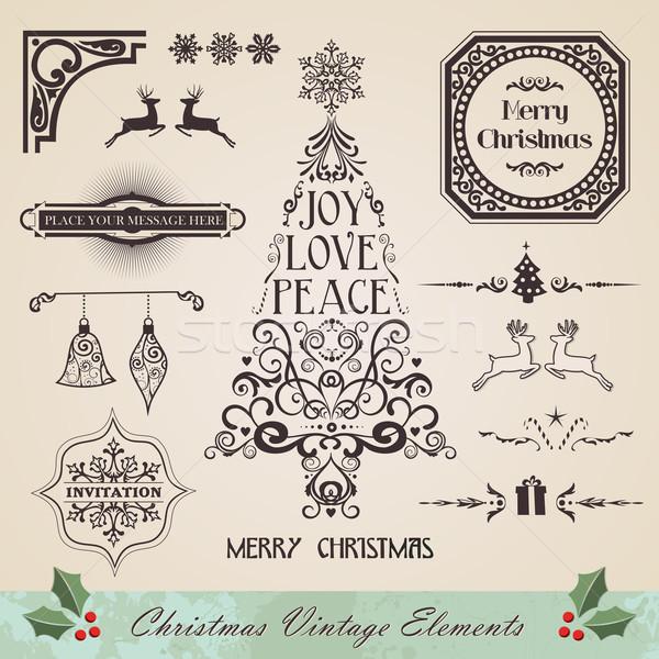 Stock fotó: Klasszikus · karácsony · elemek · szett · örvény · fa