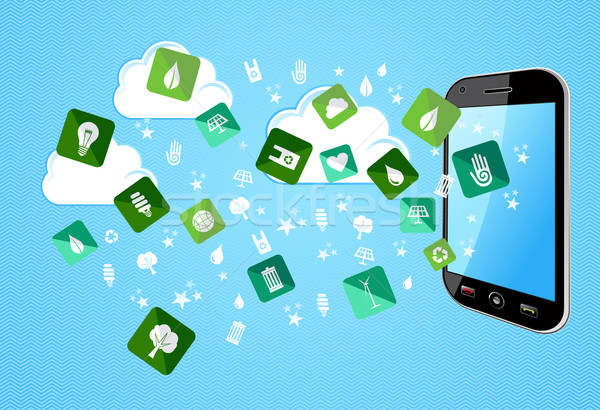 Smart Phone eco friendly icons Stock photo © cienpies