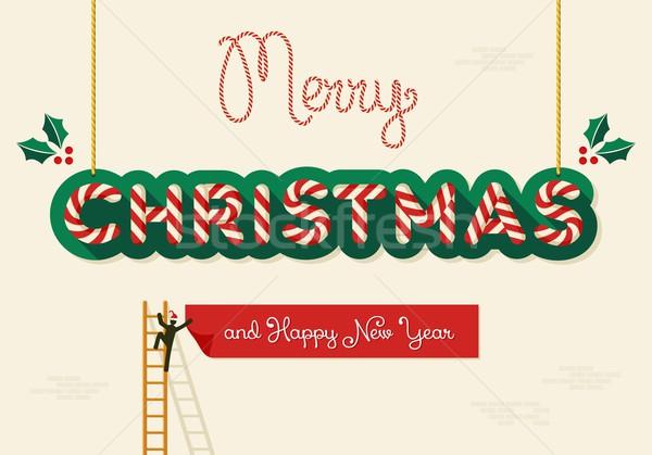 Merry Christmas creative greeting card Stock photo © cienpies