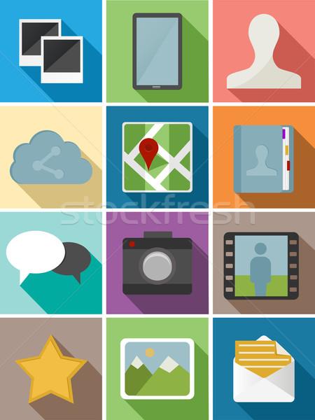 Háló ikon szett terv ikonok illusztráció konzerv Stock fotó © cienpies