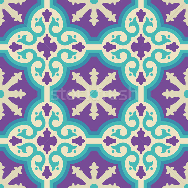 Ceramic floor tile mosaic pattern with decoration Stock photo © cienpies