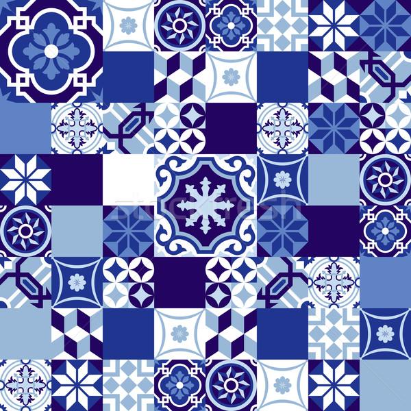 Kerámia mozaik kék stílus végtelen minta tákolmány Stock fotó © cienpies