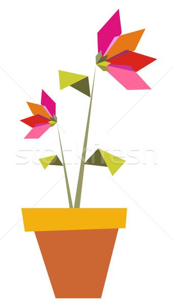 Iki origami canlı renkler çiçekler pot Stok fotoğraf © cienpies