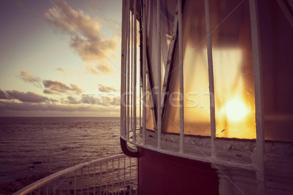 Plaży krajobraz widok z góry latarni brzegu widoku Zdjęcia stock © cienpies