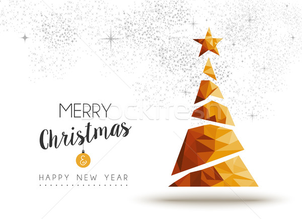Gold Christmas and new year pine tree low poly art Stock photo © cienpies