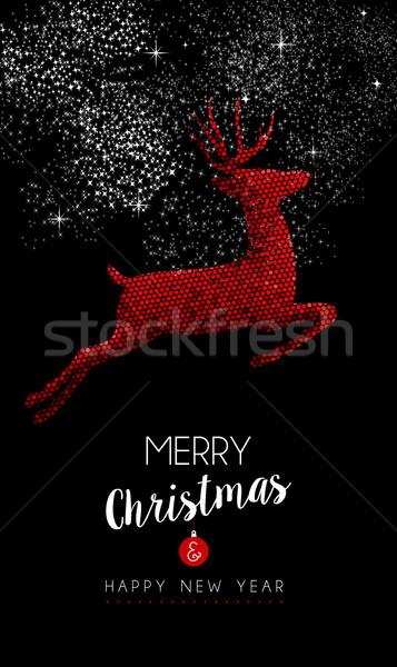 Feliz ano novo vermelho rena ilustração mosaico estilo Foto stock © cienpies