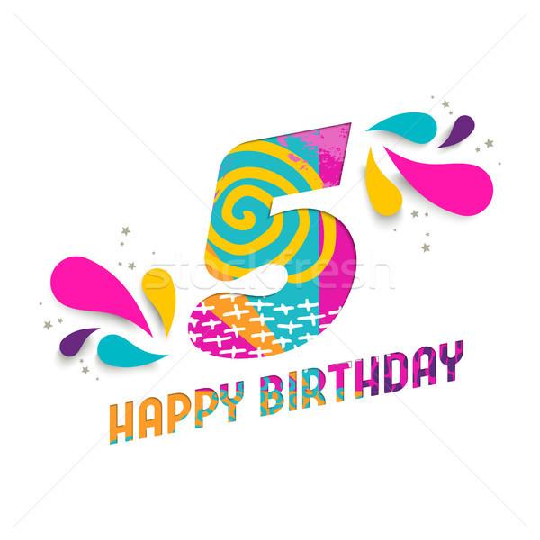 Happy birthday 5 year paper cut greeting card Stock photo © cienpies
