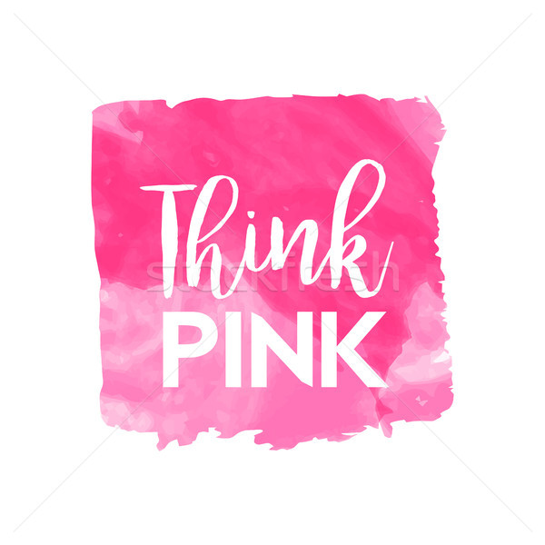 Stock photo: Pink breast cancer awareness watercolor art quote
