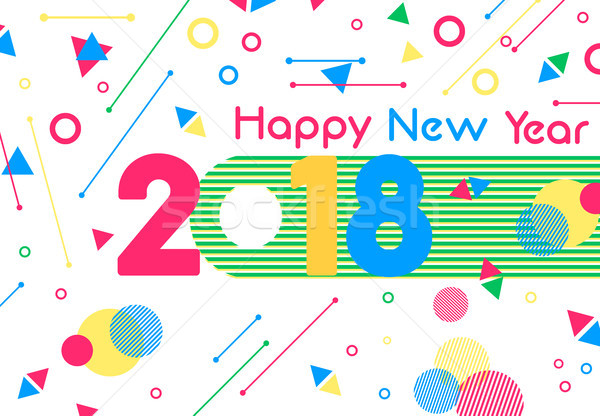 Happy New Year 2018 color decoration greeting card Stock photo © cienpies