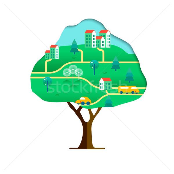 Albero sostenibile città verde carta Foto d'archivio © cienpies
