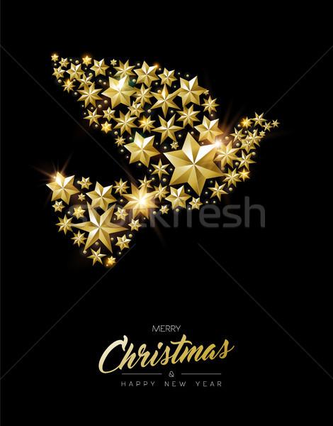 Noël nouvelle année or star paix colombe Photo stock © cienpies