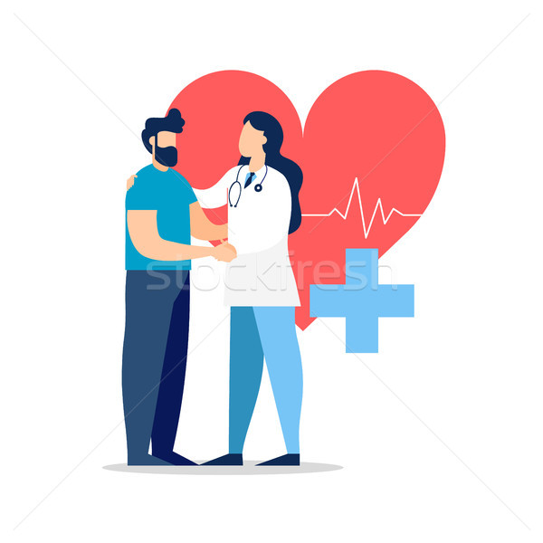Stock photo: Doctor visit with patient for medicine concept