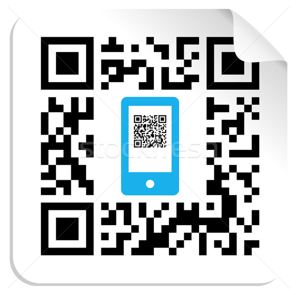 QR code mobile label Stock photo © cienpies
