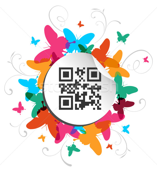 Happy butterfly spring time with qr code label Stock photo © cienpies
