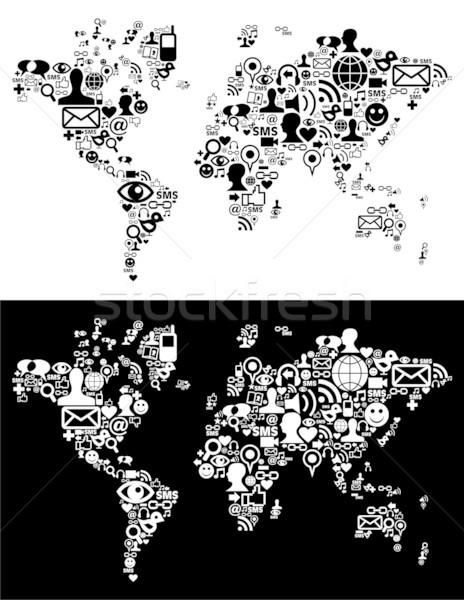 Stok fotoğraf: Sosyal · medya · ağ · simgeler · dünya · haritası · anlamaya