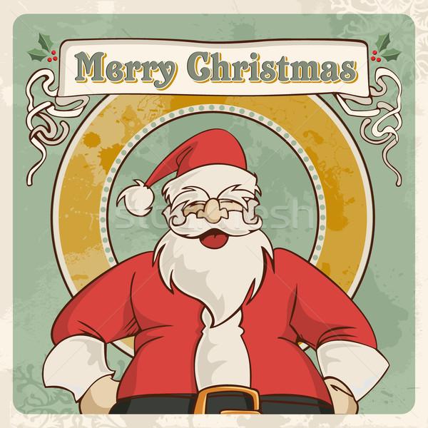 Merry christmas vintage postcard Stock photo © cienpies