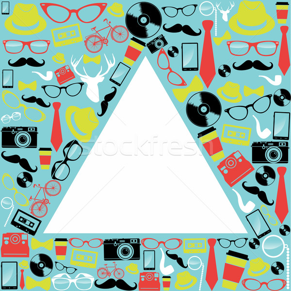 Vintage hipsters icons triangle. Stock photo © cienpies