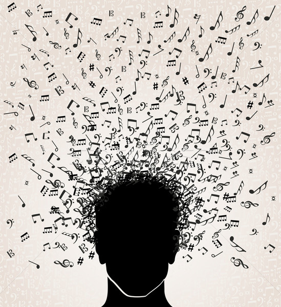 Music notes out from Head design Stock photo © cienpies