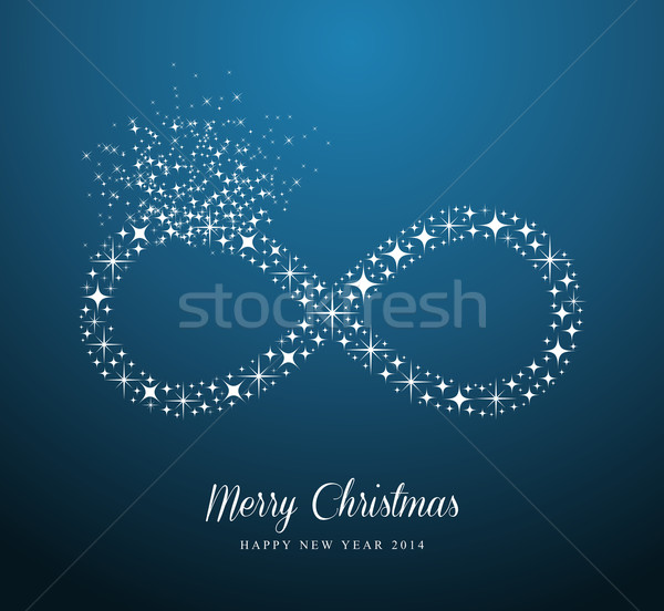Infinite Merry Christmas and Happy New Year stars greeting card Stock photo © cienpies