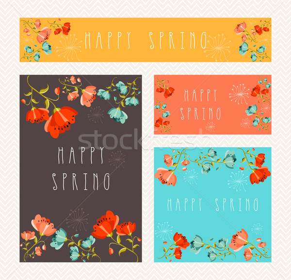 Spring greeting card set Stock photo © cienpies