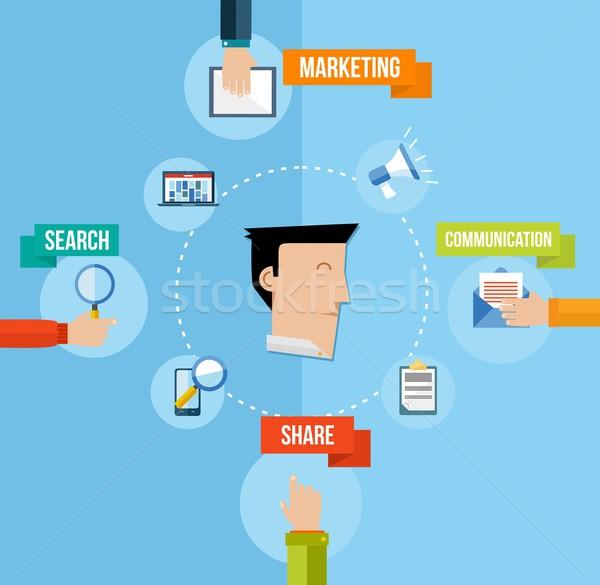 ソーシャルメディア マーケティング 実例 ユーザー ウェブ セット ストックフォト © cienpies