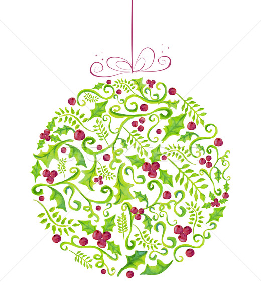 Holly Christmas watercolor bauble greeting card Stock photo © cienpies