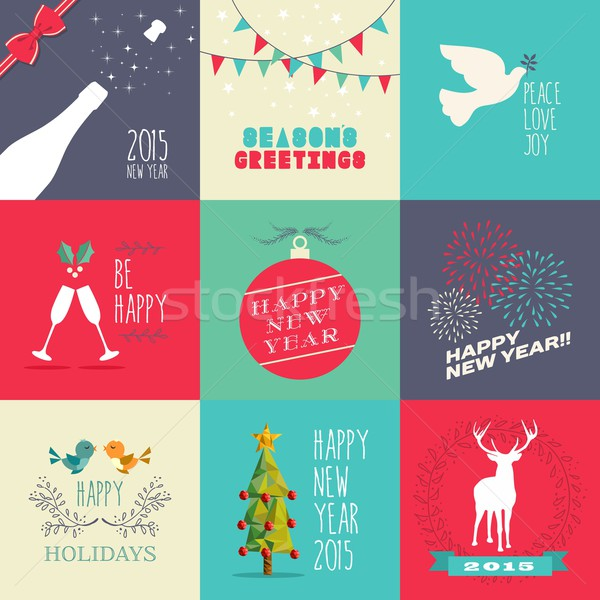 New year 2015 flat design set Stock photo © cienpies