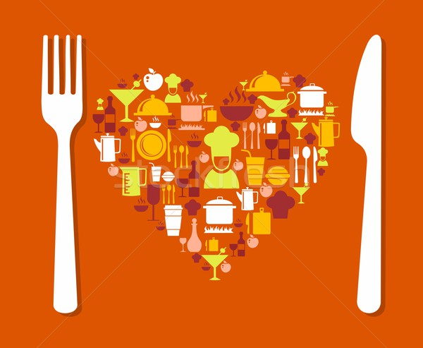 Photo stock: Amour · alimentaire · illustration · icônes · restaurant · menu