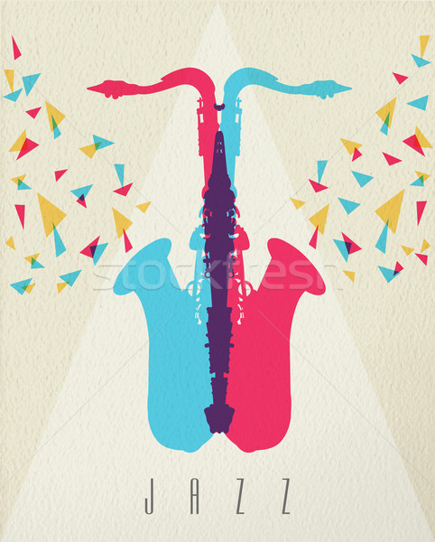 Jazz musique saxophone bande couleur design Photo stock © cienpies